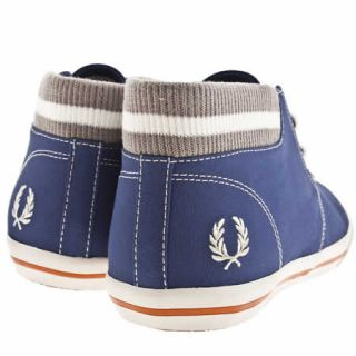 FRED PERRY BYRON MID COLLAR MENS BLUE FABRIC TRAINERS SIZE 11