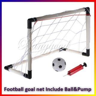 Mini Football Soccer Goal Post Net Set Ball Pump Kids Childs Indoor