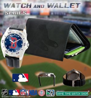 MLB Mens Game Time Watch Wallet Gift Set Team Logo Watch Embossed