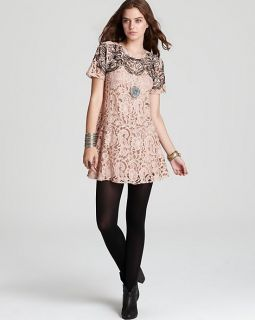 Free People Beautiful Dreamer Lace Dress Blush Combo Sz M