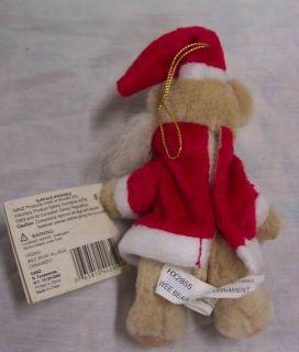 Ganz Wee Bear Village Santa Teddy Bear Ornament 5 Plush Stuffed