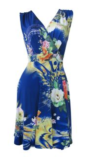 French Blue Rose Print Stretch Day Dress Tori Size 14 New