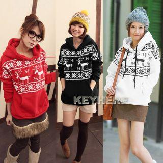 Cute Deer Print Hoodie Jacket Coat Sweatshirt Top 3 Colors K0E1 Women