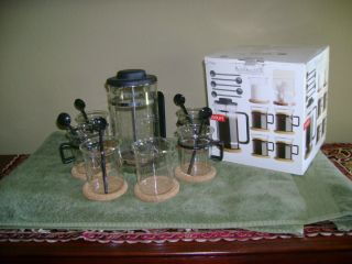 FRENCH PRESS COFFEE MAKER NIB Bodum 12 Pc. Bistro Set  w/ Cups Sugar