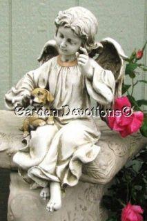 Angel Holding Puppy Dog Garden Statue Pet Memorial Nice
