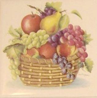 Fresh Fruit Basket Ceramic Tile Mural w Accent Tiles