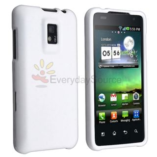 For T Mobile G2X LG Optimus Case White TPU Skin Case Cover LCD Screen