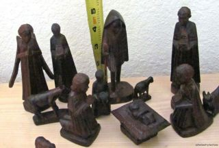 Antique Hand Carved Black Forest Christmas Nativity Scene Set Wood