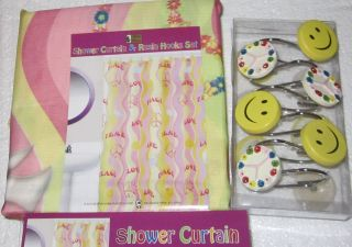 New PEACE Signs Love Hippy Retro FABRIC SHOWER CURTAIN + Hooks Smiley