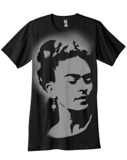Frida Kahlo Tee Shirt Airbrushed with Stencils Mexican Painter