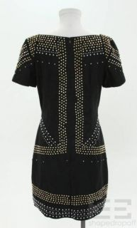 French Connection Black Cotton Beaded Short Sleeve Dress Size 8