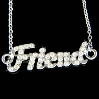 Crystal Love Best Friends Friend Letters Friendship Pendant Necklace