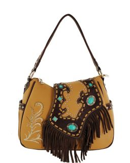 Brown Tan Turquoise Western Leather Fringe Handbag Purse