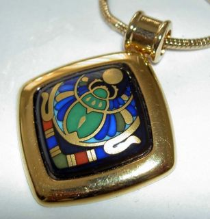 Authentic MICHAELA FREY Egyptian Green Scarab 24K Enamel Square