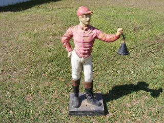 Antique Vtg CAST IRON Lawn Jockey Statue Garden Art Light PickUp Only