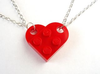 Lego Friendship Heart Necklace Set of 2 Silver Gold Plated Plate Brick