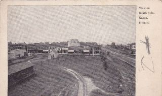 Galva Illinois South Side 1900s Train Old Postcard