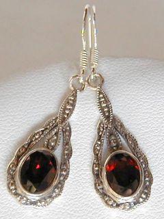 garnet drop sterling silver earrings
