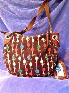 Fossil Handbags Floral Canvas Leather Purse Crossbody Shoulder Bag