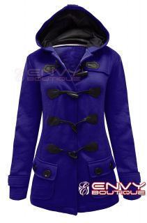 New Ladies Womens Hood Duffle Trench Hooded Pocket Coat Jacket Size 8