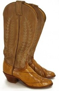 006N Womens Tony Lama Camel Real Eel Embroider Tall Cowgirl Boots Sz 6