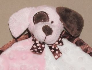 Baby Ganz Pink Brown White Minky Dot Security Blanket Puppy Dog Lovey