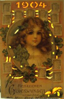 RARE Collectible 1904 Frances Brundage HTL New Year Date Postcard Hold