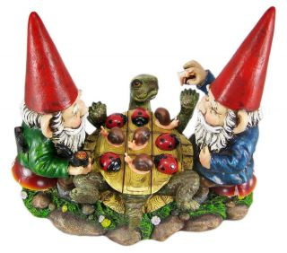 Garden Gnomes Playing Tic Tac Toe Game Outdoor Statue