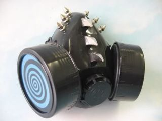 Reflective Blue Hypno LED Gas Mask Rave Clothing Goth