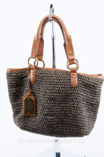 LAUREN RALPH LAUREN brown woven straw CLARIDGE tote purse USED