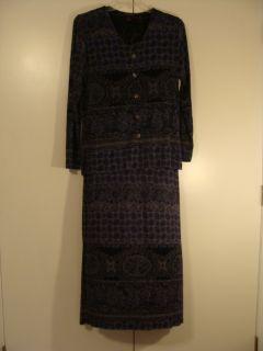 Francesca Rose Blue Floral Print Knit Dress Jacket S