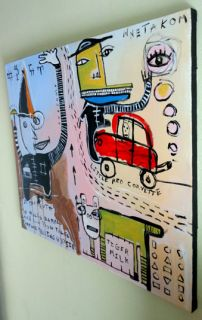 original HUGHART outsider folk art raw brut painting   FORTUNE TELLING