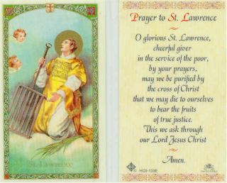 St Lawrence Service Giver to The Poor Prayer Holy Card