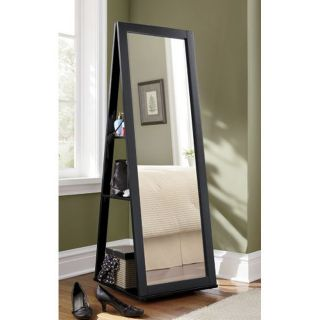 SWIVEL FULL LENGTH FLOOR TILTED DRESSING MIRROR STORAGE SHELVES BLACK
