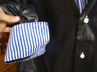 FRANCO NERO MENS BUTTON FRONT SHIRT SZ L SHINY BLACK SLIM FIT