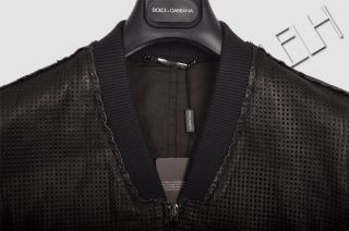 DOLCE & GABBANA RP2649$ BLACK PERFORATED LEATHER JACKET SS2012