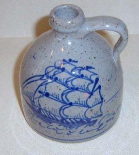 Great Bay New Hampshire Pottery Jug Blue Sailboat SHIP