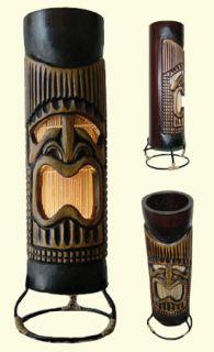 Hawaiian Tropical Tiki Face Style Wooden Lamp Table Night Light New T2