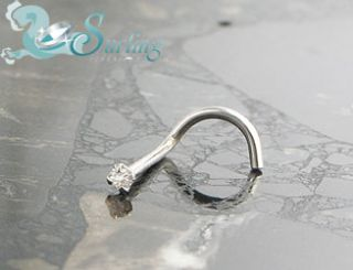 Solid 14k White Gold Genuine SI Diamond Nose Ring Screw