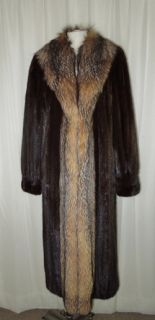 Sabau Furs Brown Dark Mahogany Mink Crystal Fox Long Full Length Coat
