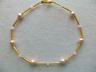 Ankle Bracelet Pink Magnetic Beads Pink Swarvoski Crystals Gold Plated