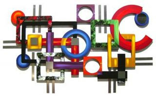 Funky Colorful Geometric Wood Metal Mirror Wall Sculpture Unique