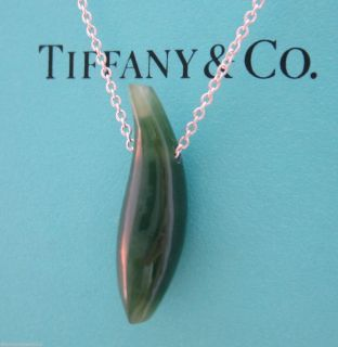 Tiffany Co Frank Gehry Jade Fish Pendant Necklace Silver 3 2 Grams TCO