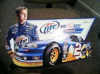 Brad Keselowski Miller Lite NASCAR metal tin promo sign Dodge Good