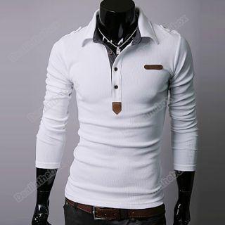 B5UT Mens Korean Spring Lapel Casual Thin Polo Shirt Top England
