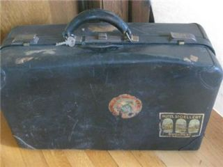 Vintage Black Leather Warranted Cowhide Suitcase Hotel Travel Stickers