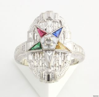 Cocktail Ring   14k White Gold Syn Gemstones Order of the Eastern Star
