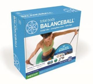 Gaiam Total Body Balance Ball Kit DVD Resistance Band Pump Workout