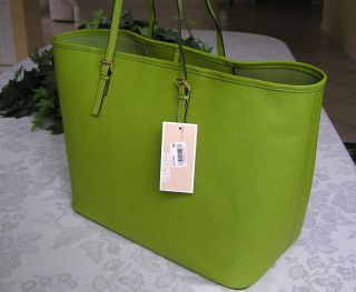 Michael Kors Jet Set Travel Leather Medium Tote Bag Purse Lime Green