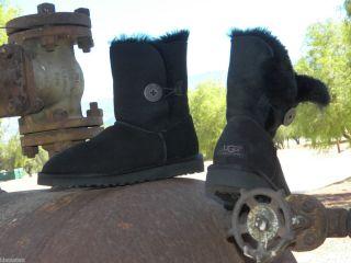 New Womens UGG Bailey Button Black Sheepkin Short Winter Boots All